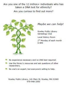 Genealogy Club @ Local History Room | Rowley | Massachusetts | United States