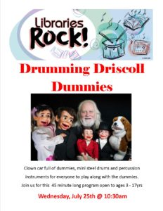 Libraries Rock with Drumming Driscoll Dummies