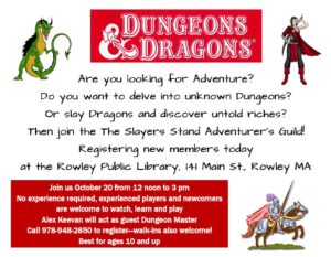 Dungeons & Dragons @ Rowley Public Library | Rowley | Massachusetts | United States